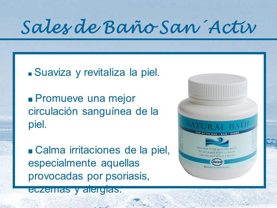 Sales de Baño San´Activ Suaviza y revitaliza la piel. Promueve una mejor circulación sanguínea de la piel. Calma irritaciones de la piel, especialment