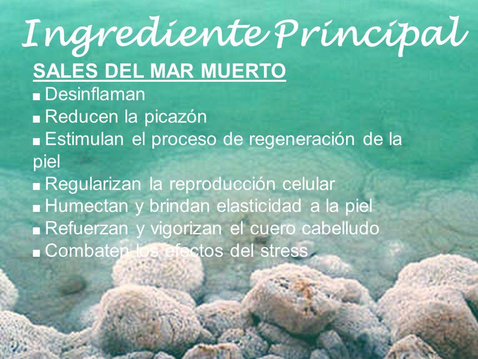 Ingrediente Principal SALES DEL MAR MUERTO Desinflaman Reducen la picazón Estimulan el proceso de regeneración de la piel Regularizan la reproducción