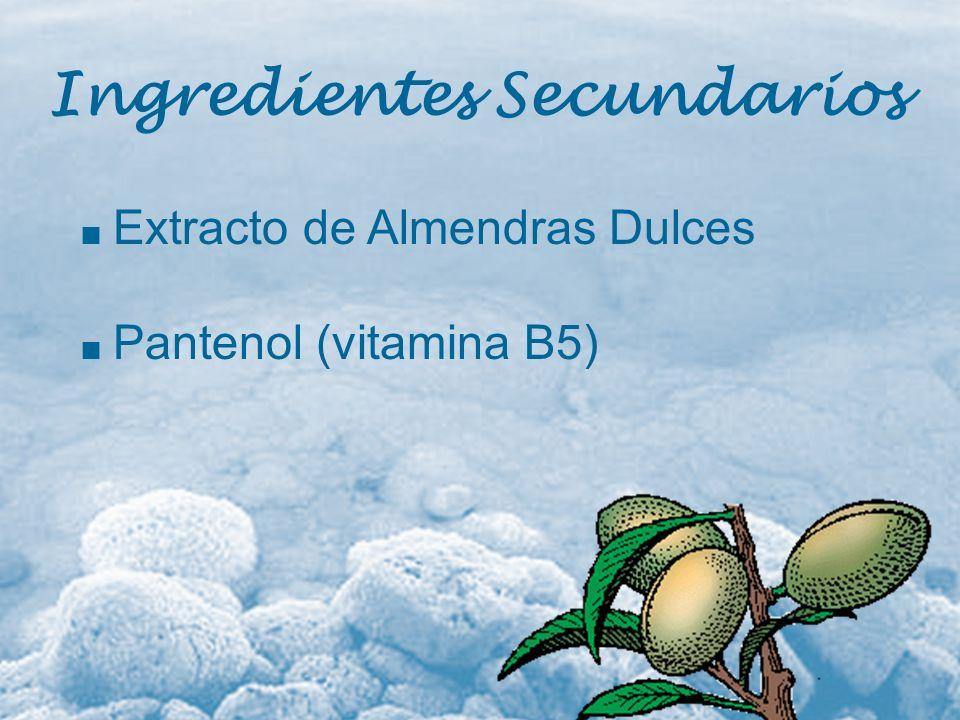Extracto de Almendras Dulces Pantenol (vitamina B5) Ingredientes Secundarios