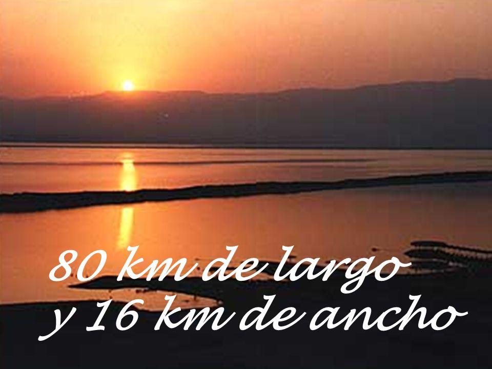80 km de largo y 16 km de ancho