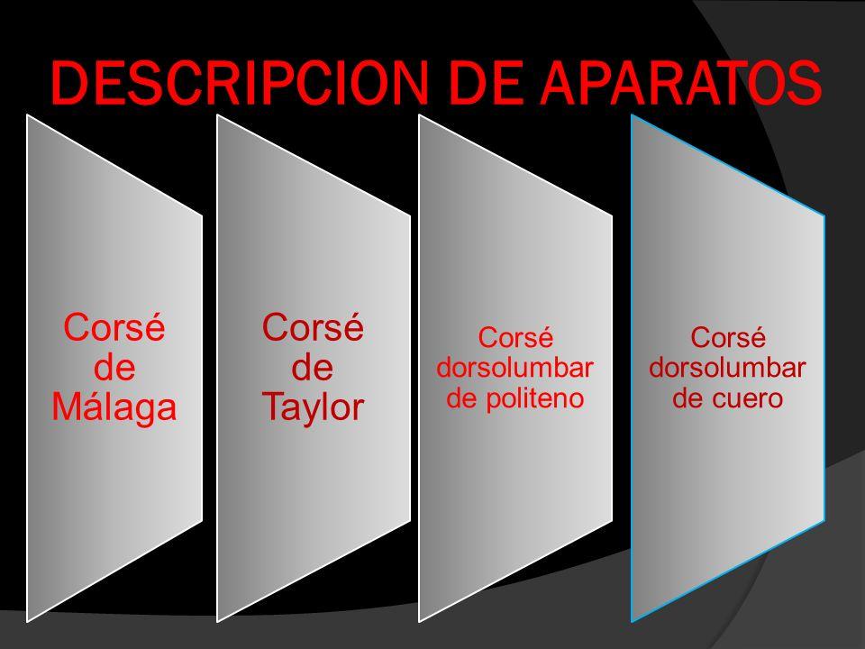 DESCRIPCION DE APARATOS Corsé de Málaga Corsé de Taylor Corsé dorsolumbar de politeno Corsé dorsolumbar de cuero