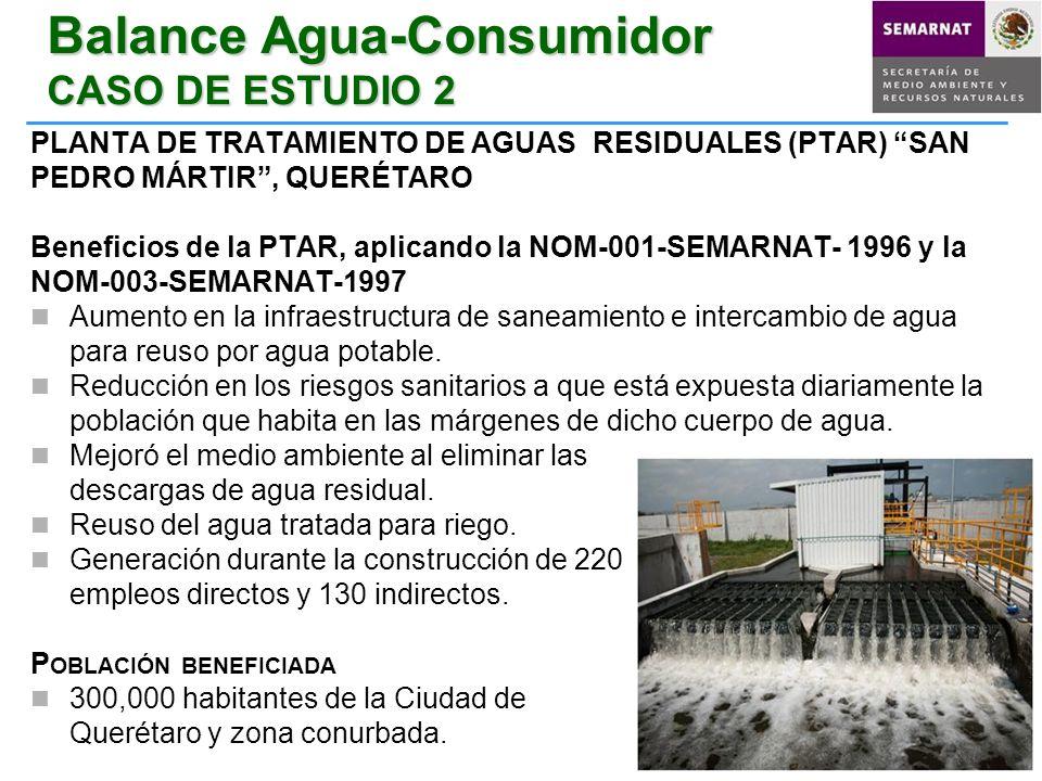 Balance Agua-Consumidor CASO DE ESTUDIO 2 PLANTA DE TRATAMIENTO DE AGUAS RESIDUALES (PTAR) SAN PEDRO MÁRTIR, QUERÉTARO Beneficios de la PTAR, aplicand