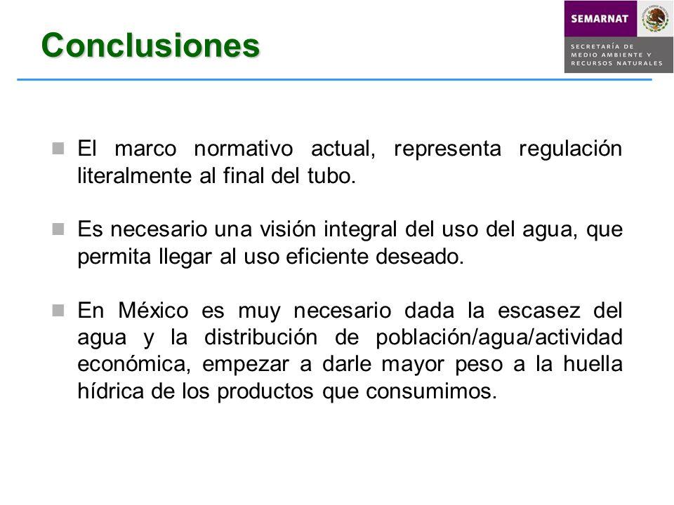 Conclusiones El marco normativo actual, representa regulación literalmente al final del tubo. Es necesario una visión integral del uso del agua, que p