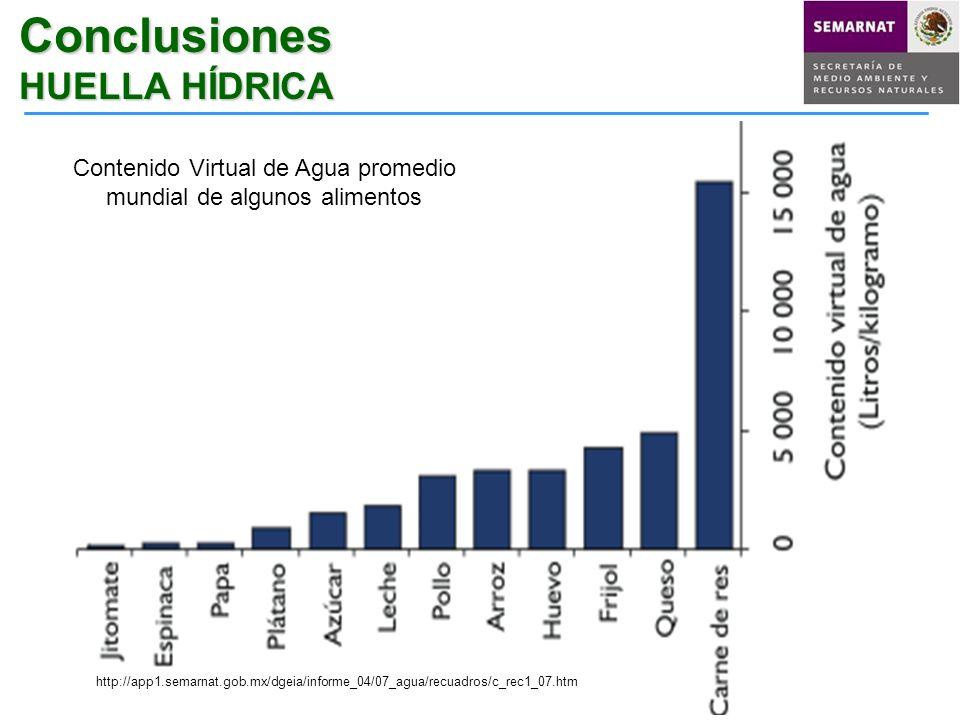 Conclusiones HUELLA HÍDRICA Contenido Virtual de Agua promedio mundial de algunos alimentos http://app1.semarnat.gob.mx/dgeia/informe_04/07_agua/recua