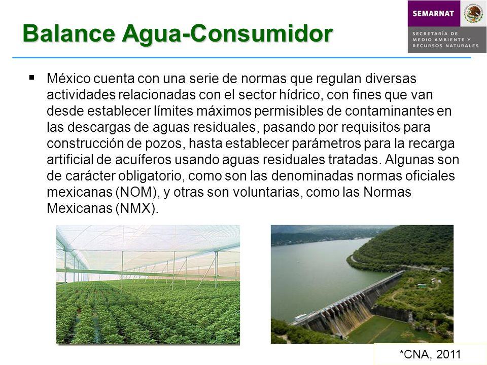 Balance Agua-Consumidor México cuenta con una serie de normas que regulan diversas actividades relacionadas con el sector hídrico, con fines que van d