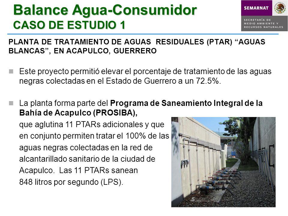 Balance Agua-Consumidor CASO DE ESTUDIO 1 PLANTA DE TRATAMIENTO DE AGUAS RESIDUALES (PTAR) AGUAS BLANCAS, EN ACAPULCO, GUERRERO Este proyecto permitió