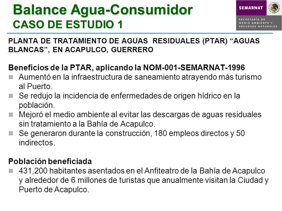 Balance Agua-Consumidor CASO DE ESTUDIO 1 PLANTA DE TRATAMIENTO DE AGUAS RESIDUALES (PTAR) AGUAS BLANCAS, EN ACAPULCO, GUERRERO Beneficios de la PTAR,