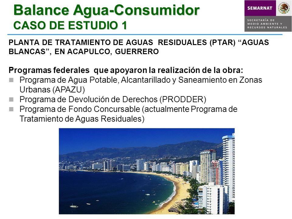 Balance Agua-Consumidor CASO DE ESTUDIO 1 PLANTA DE TRATAMIENTO DE AGUAS RESIDUALES (PTAR) AGUAS BLANCAS, EN ACAPULCO, GUERRERO Programas federales qu
