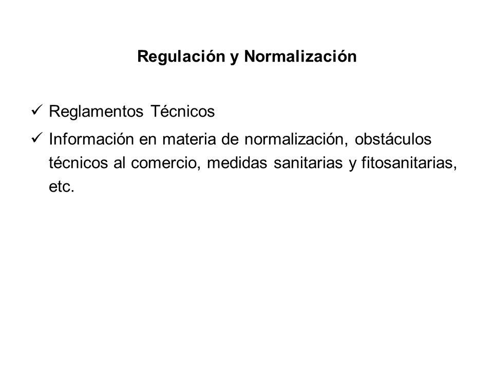 Regulación y Normalización Reglamentos Técnicos Información en materia de normalización, obstáculos técnicos al comercio, medidas sanitarias y fitosan