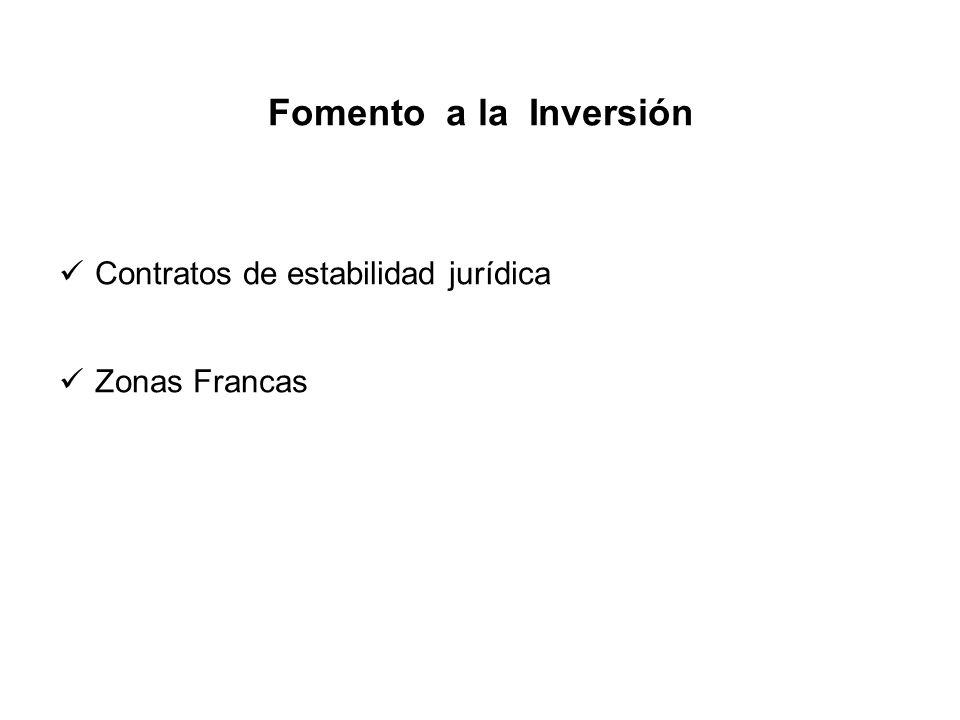 Fomento a la Inversión Contratos de estabilidad jurídica Zonas Francas