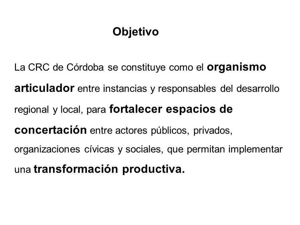 La CRC de Córdoba se constituye como el organismo articulador entre instancias y responsables del desarrollo regional y local, para fortalecer espacio