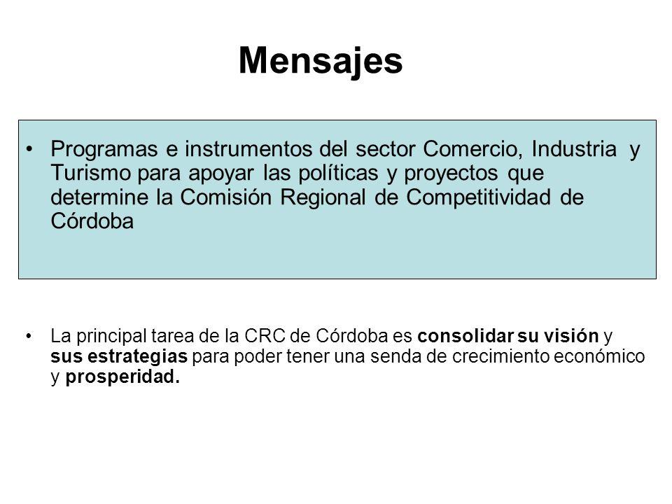 Mensajes Programas e instrumentos del sector Comercio, Industria y Turismo para apoyar las políticas y proyectos que determine la Comisión Regional de