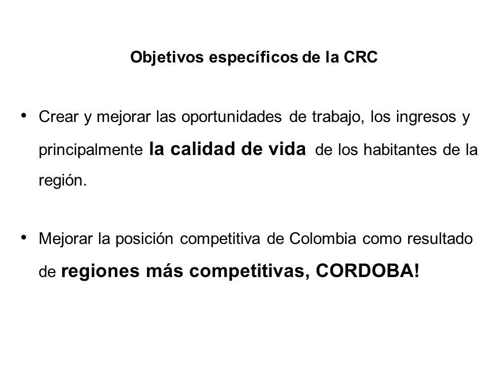 Objetivos específicos de la CRC Crear y mejorar las oportunidades de trabajo, los ingresos y principalmente la calidad de vida de los habitantes de la