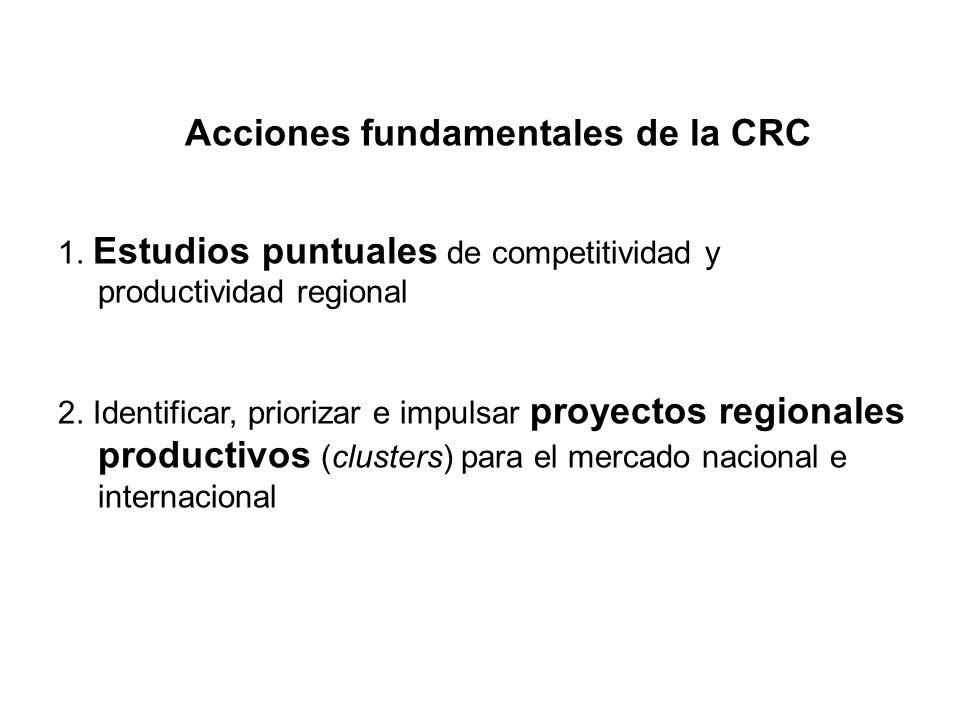 Acciones fundamentales de la CRC 1. Estudios puntuales de competitividad y productividad regional 2. Identificar, priorizar e impulsar proyectos regio
