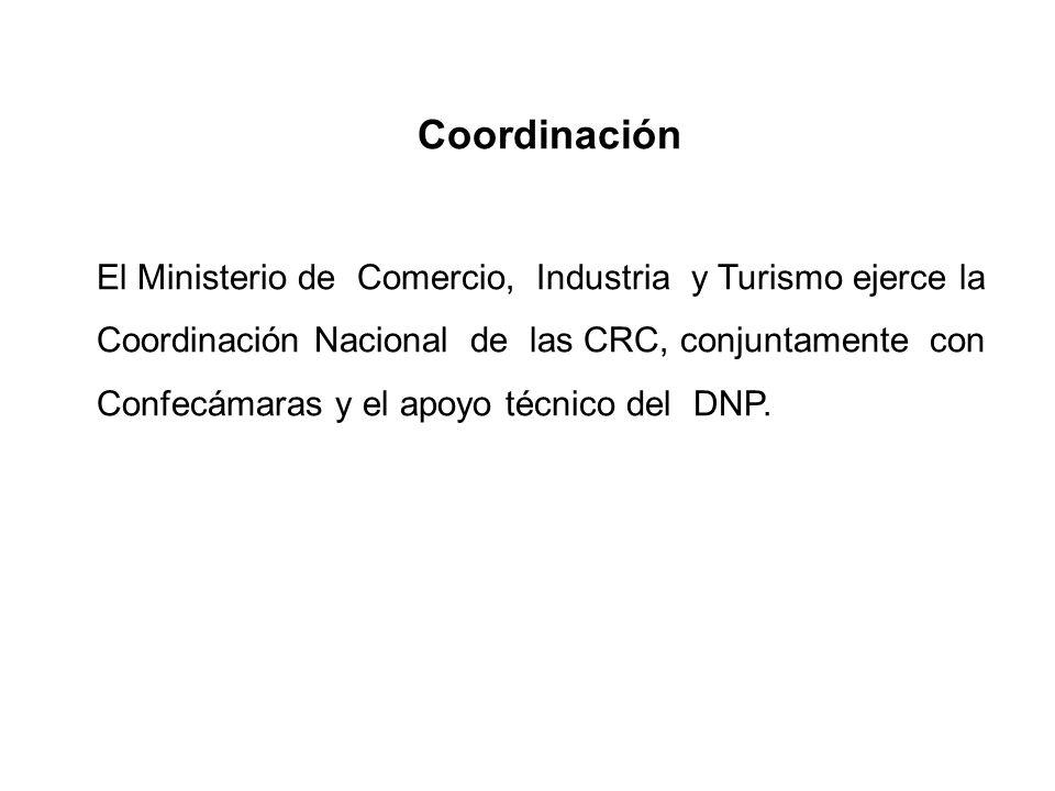 Coordinación El Ministerio de Comercio, Industria y Turismo ejerce la Coordinación Nacional de las CRC, conjuntamente con Confecámaras y el apoyo técn
