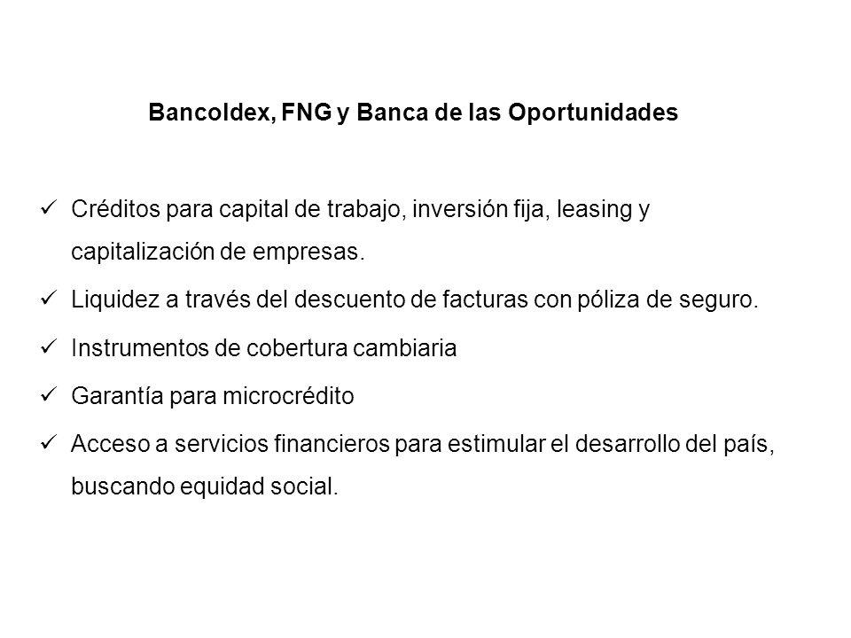 Bancoldex, FNG y Banca de las Oportunidades Créditos para capital de trabajo, inversión fija, leasing y capitalización de empresas. Liquidez a través