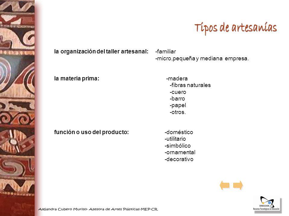 la organización del taller artesanal: -familiar -micro,pequeña y mediana empresa. la materia prima: -madera -fibras naturales -cuero -barro -papel -ot