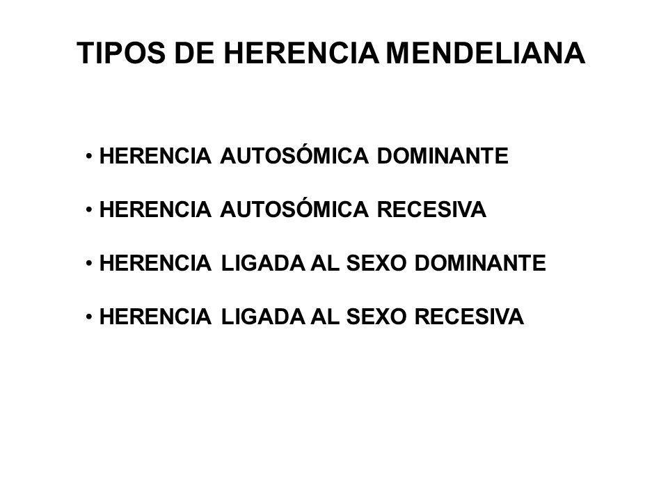 HERENCIA AUTOSÓMICA DOMINANTE HERENCIA AUTOSÓMICA RECESIVA HERENCIA LIGADA AL SEXO DOMINANTE HERENCIA LIGADA AL SEXO RECESIVA TIPOS DE HERENCIA MENDELIANA