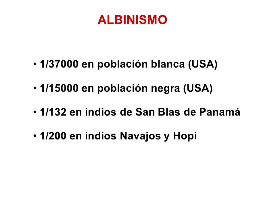 1/37000 en población blanca (USA) 1/15000 en población negra (USA) 1/132 en indios de San Blas de Panamá 1/200 en indios Navajos y Hopi ALBINISMO