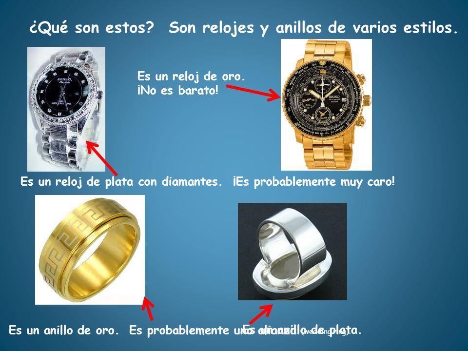 Es un reloj de plata con diamantes. ¡Es probablemente muy caro! ¿Qué son estos?Son relojes y anillos de varios estilos. Es un reloj de oro. ¡No es bar