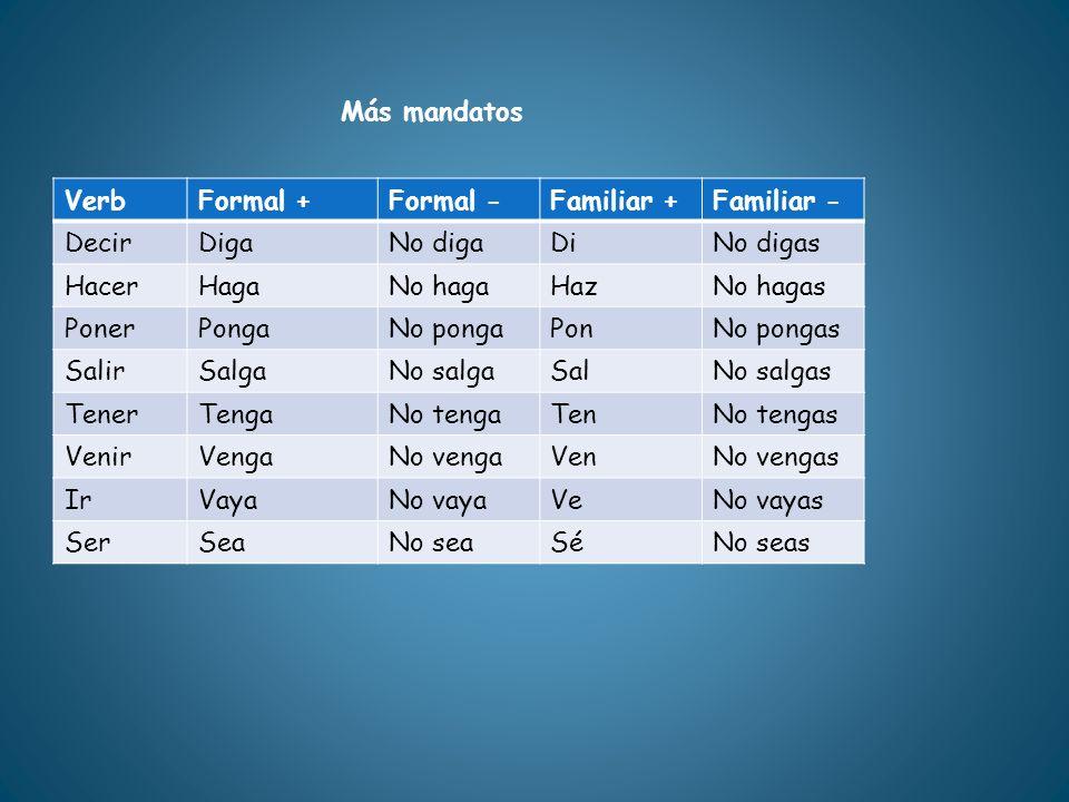 VerbFormal +Formal -Familiar +Familiar - DecirDigaNo digaDiNo digas HacerHagaNo hagaHazNo hagas PonerPongaNo pongaPonNo pongas SalirSalgaNo salgaSalNo