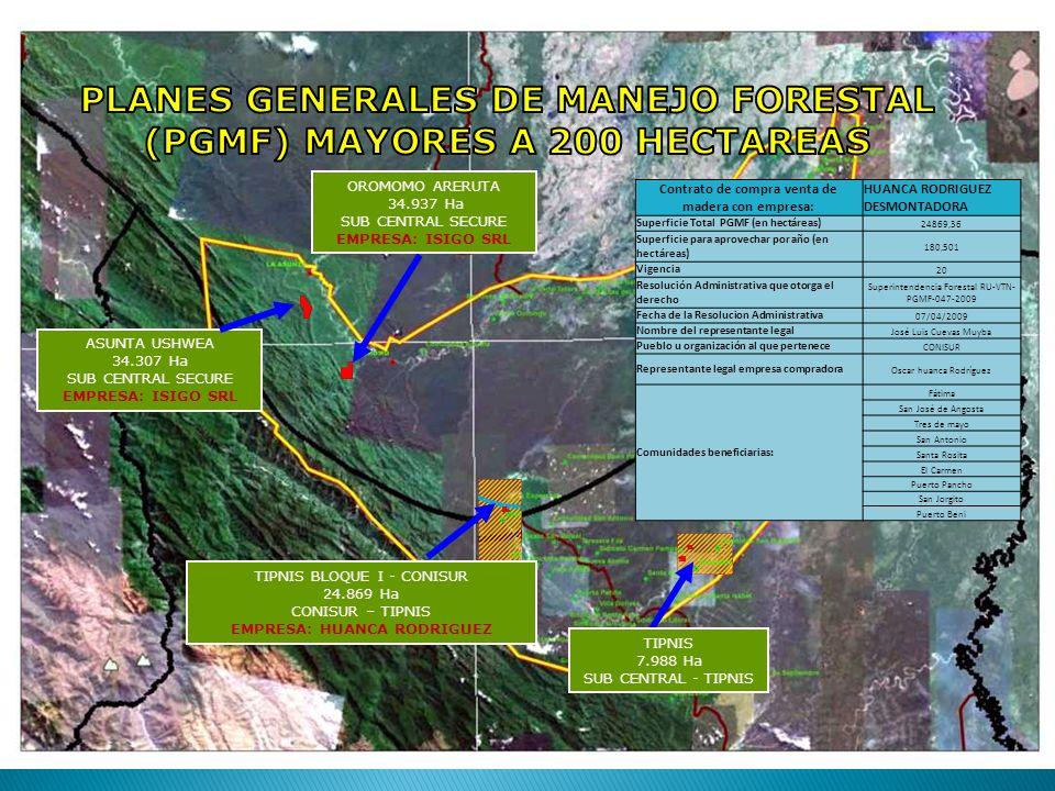 TIPNIS 7.988 Ha SUB CENTRAL - TIPNIS TIPNIS BLOQUE I - CONISUR 24.869 Ha CONISUR – TIPNIS EMPRESA: HUANCA RODRIGUEZ Contrato de compra venta de madera con empresa: HUANCA RODRIGUEZ DESMONTADORA Superficie Total PGMF (en hectáreas) 24869,36 Superficie para aprovechar por año (en hectáreas) 180,501 Vigencia 20 Resolución Administrativa que otorga el derecho Superintendencia Forestal RU-VTN- PGMF-047-2009 Fecha de la Resolucion Administrativa 07/04/2009 Nombre del representante legal José Luis Cuevas Muyba Pueblo u organización al que pertenece CONISUR Representante legal empresa compradora Oscar huanca Rodríguez Comunidades beneficiarias: Fátima San José de Angosta Tres de mayo San Antonio Santa Rosita El Carmen Puerto Pancho San Jorgito Puerto Beni ASUNTA USHWEA 34.307 Ha SUB CENTRAL SECURE EMPRESA: ISIGO SRL OROMOMO ARERUTA 34.937 Ha SUB CENTRAL SECURE EMPRESA: ISIGO SRL