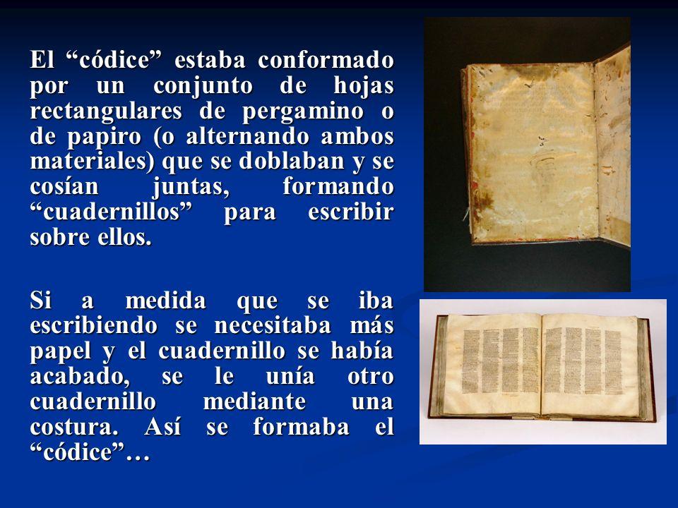 El códice estaba conformado por un conjunto de hojas rectangulares de pergamino o de papiro (o alternando ambos materiales) que se doblaban y se cosía