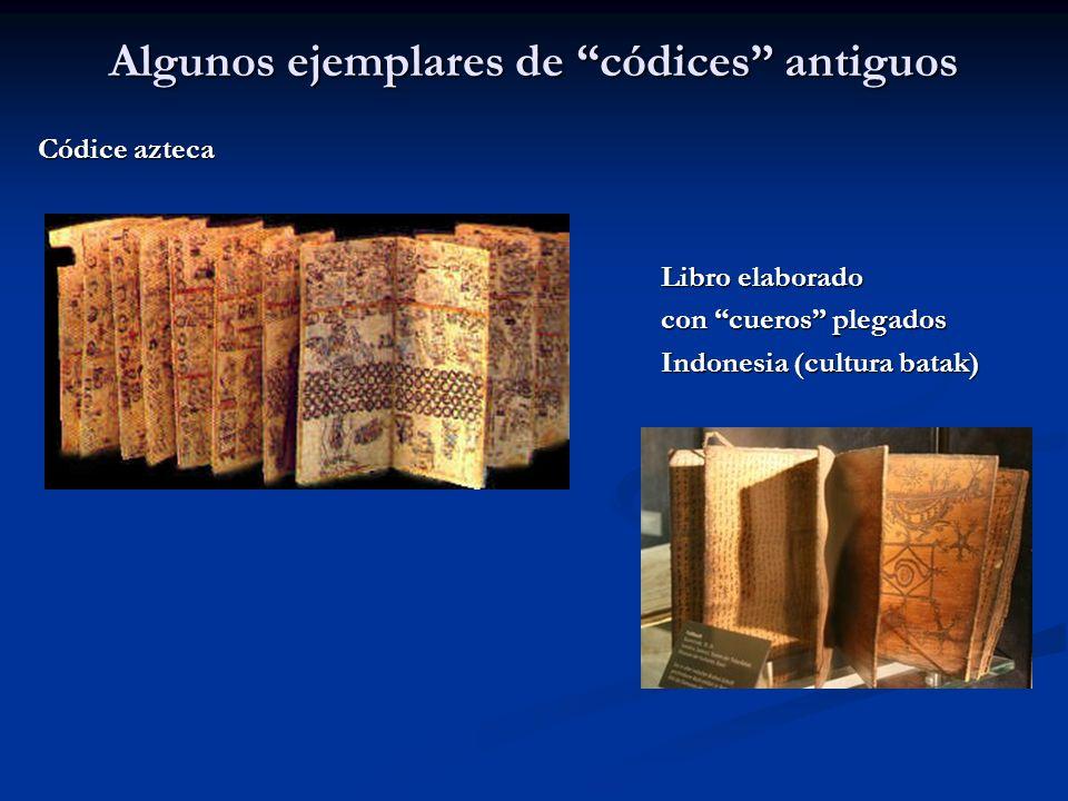 Algunos ejemplares de códices antiguos Códice azteca Libro elaborado Libro elaborado con cueros plegados con cueros plegados Indonesia (cultura batak)