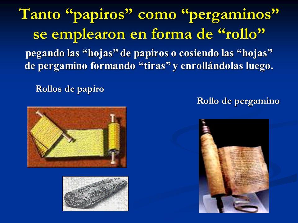 Tanto papiros como pergaminos se emplearon en forma de rollo pegando las hojas de papiros o cosiendo las hojas de pergamino formando tiras y enrollánd