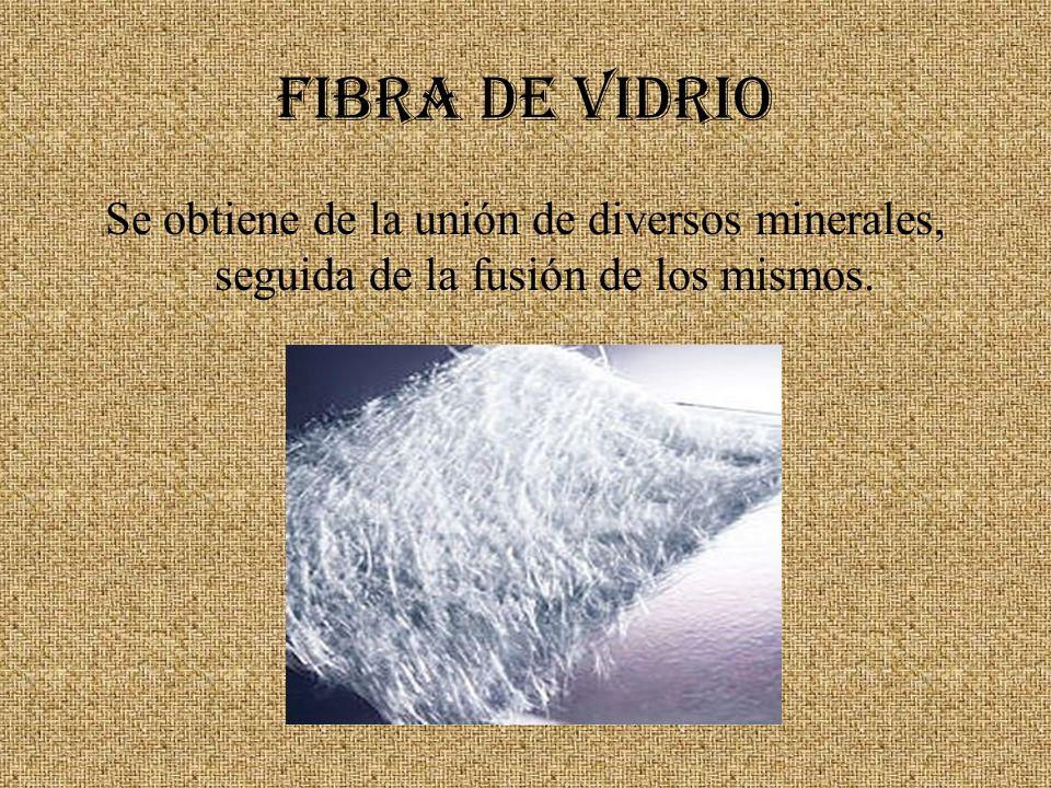 Fibra de Vidrio Se obtiene de la unión de diversos minerales, seguida de la fusión de los mismos.