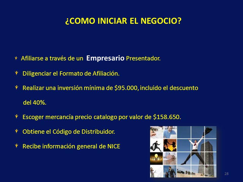 Afiliarse a través de un Empresario Presentador. Diligenciar el Formato de Afiliación. Realizar una inversión mínima de $95.000, incluido el descuento