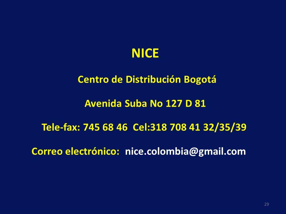 29 NICE Centro de Distribución Bogotá Avenida Suba No 127 D 81 Tele-fax: 745 68 46 Cel:318 708 41 32/35/39 Correo electrónico: nice.colombia@gmail.com