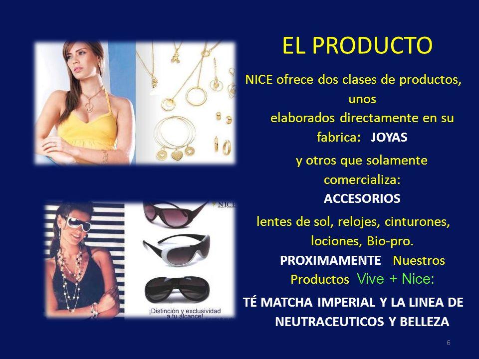 EL PRODUCTO 6 NICE ofrece dos clases de productos, unos elaborados directamente en su fabrica: JOYAS y otros que solamente comercializa: ACCESORIOS le
