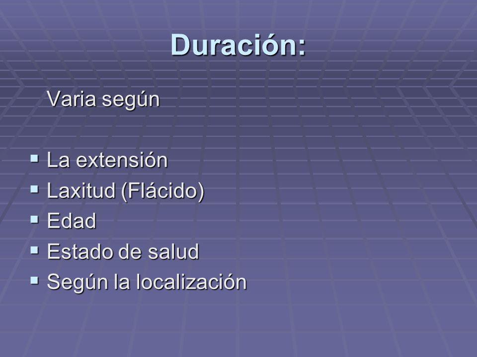 Duración: Varia según La extensión La extensión Laxitud (Flácido) Laxitud (Flácido) Edad Edad Estado de salud Estado de salud Según la localización Según la localización