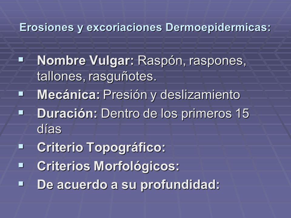 Erosiones y excoriaciones Dermoepidermicas: Nombre Vulgar: Raspón, raspones, tallones, rasguñotes. Nombre Vulgar: Raspón, raspones, tallones, rasguñot