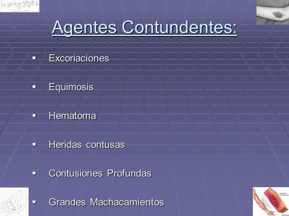 Agentes Contundentes: Excoriaciones Excoriaciones Equimosis Equimosis Hematoma Hematoma Heridas contusas Heridas contusas Contusiones Profundas Contus