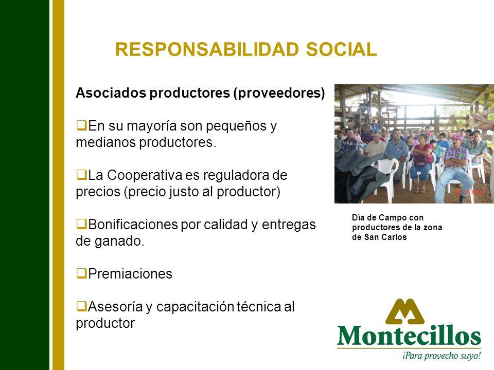 RESPONSABILIDAD SOCIAL Asociados productores (proveedores) En su mayoría son pequeños y medianos productores. La Cooperativa es reguladora de precios