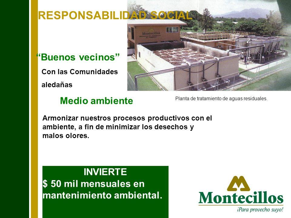 RESPONSABILIDAD SOCIAL Armonizar nuestros procesos productivos con el ambiente, a fin de minimizar los desechos y malos olores. Buenos vecinos Con las
