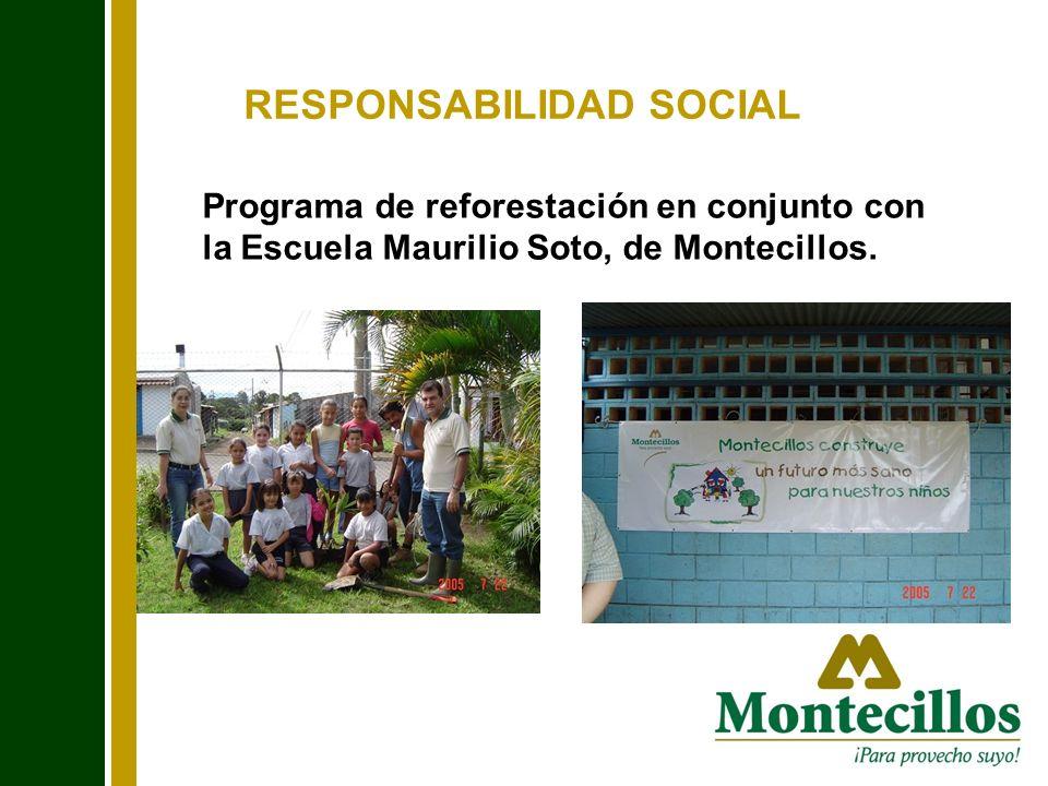 RESPONSABILIDAD SOCIAL Programa de reforestación en conjunto con la Escuela Maurilio Soto, de Montecillos. Falta foto