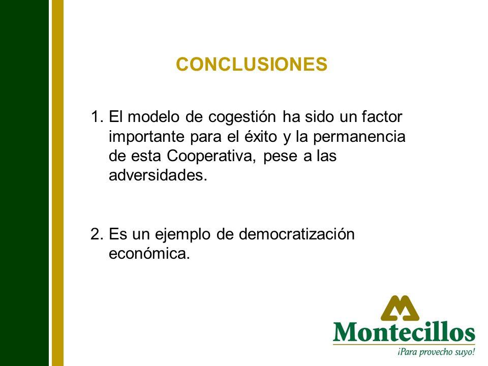 CONCLUSIONES 1.El modelo de cogestión ha sido un factor importante para el éxito y la permanencia de esta Cooperativa, pese a las adversidades. 2.Es u