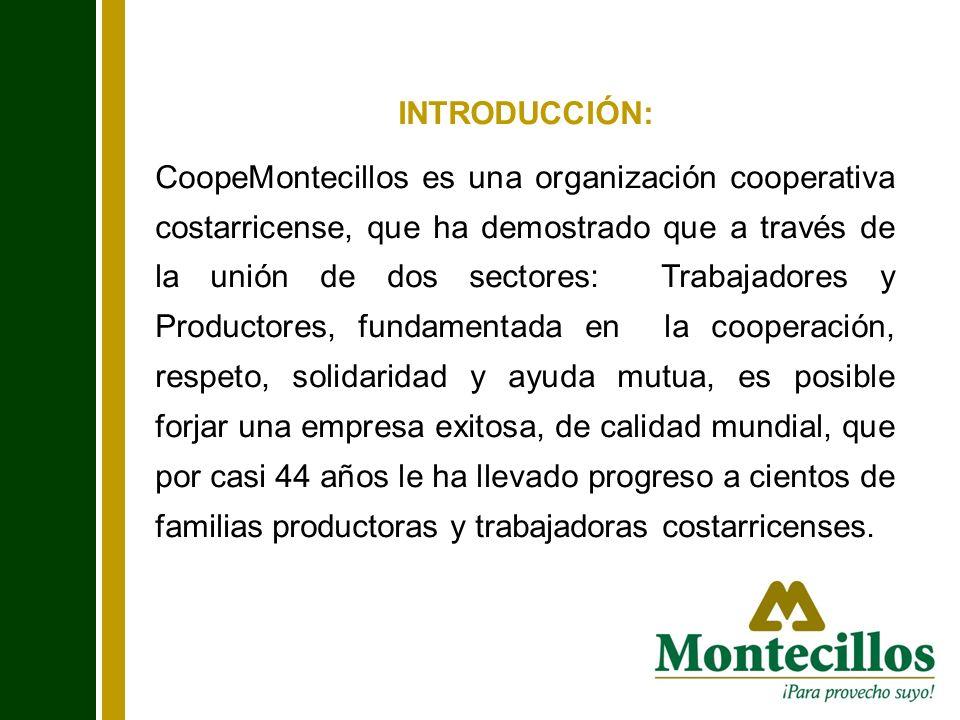 INTRODUCCIÓN: CoopeMontecillos es una organización cooperativa costarricense, que ha demostrado que a través de la unión de dos sectores: Trabajadores