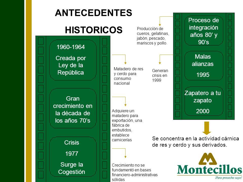 ANTECEDENTES HISTORICOS 1960-1964 Creada por Ley de la República Gran crecimiento en la década de los años 70s Crisis 1977 Surge la Cogestión Proceso