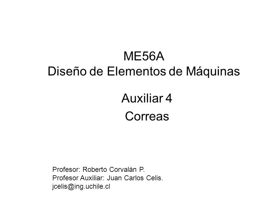 ME56A Diseño de Elementos de Máquinas Auxiliar 4 Correas Profesor: Roberto Corvalán P. Profesor Auxiliar: Juan Carlos Celis. jcelis@ing.uchile.cl