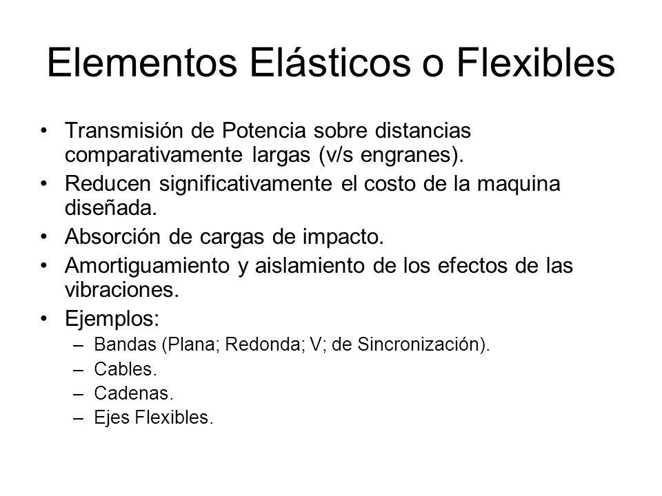 Elementos Elásticos o Flexibles Transmisión de Potencia sobre distancias comparativamente largas (v/s engranes). Reducen significativamente el costo d