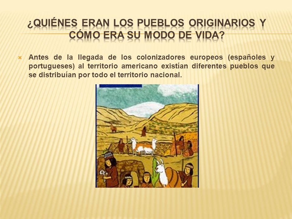 Antes de la llegada de los colonizadores europeos (españoles y portugueses) al territorio americano existían diferentes pueblos que se distribuían por todo el territorio nacional.