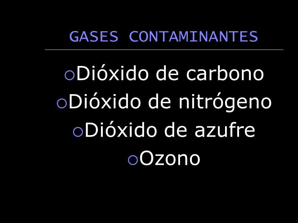 GASES CONTAMINANTES Dióxido de carbono Dióxido de nitrógeno Dióxido de azufre Ozono