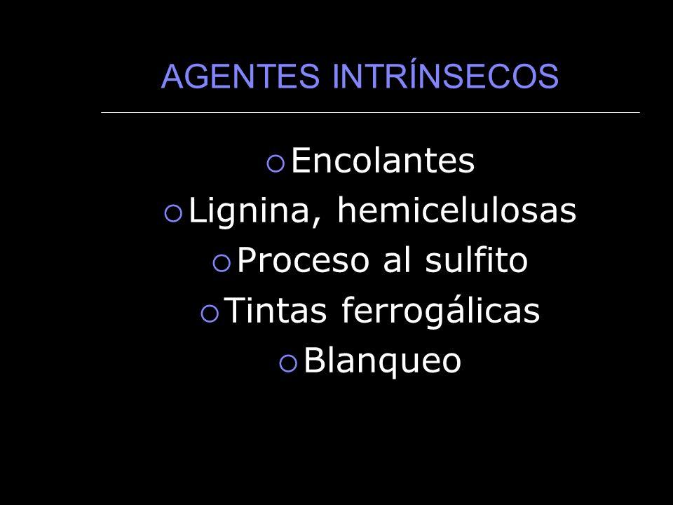 AGENTES INTRÍNSECOS Encolantes Lignina, hemicelulosas Proceso al sulfito Tintas ferrogálicas Blanqueo
