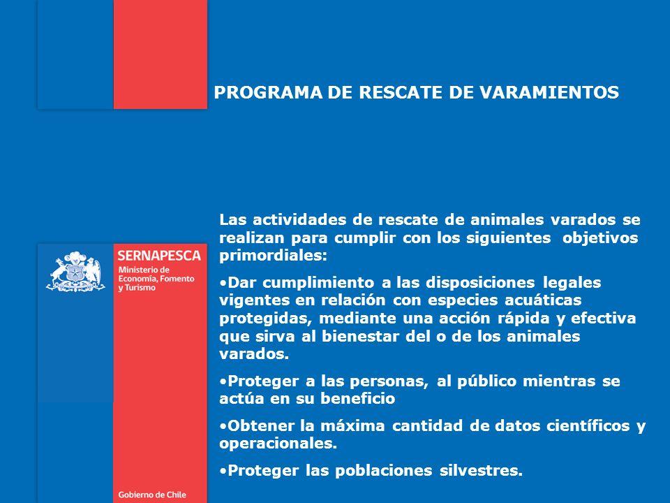 PROGRAMA DE RESCATE DE VARAMIENTOS Las actividades de rescate de animales varados se realizan para cumplir con los siguientes objetivos primordiales:
