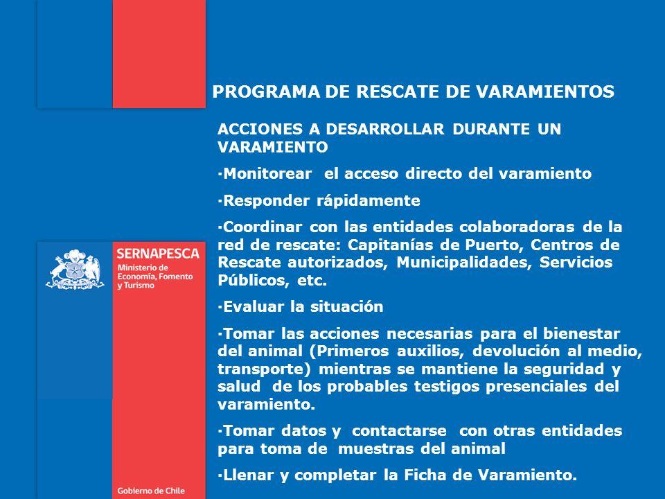PROGRAMA DE RESCATE DE VARAMIENTOS ACCIONES A DESARROLLAR DURANTE UN VARAMIENTO ·Monitorear el acceso directo del varamiento ·Responder rápidamente ·C