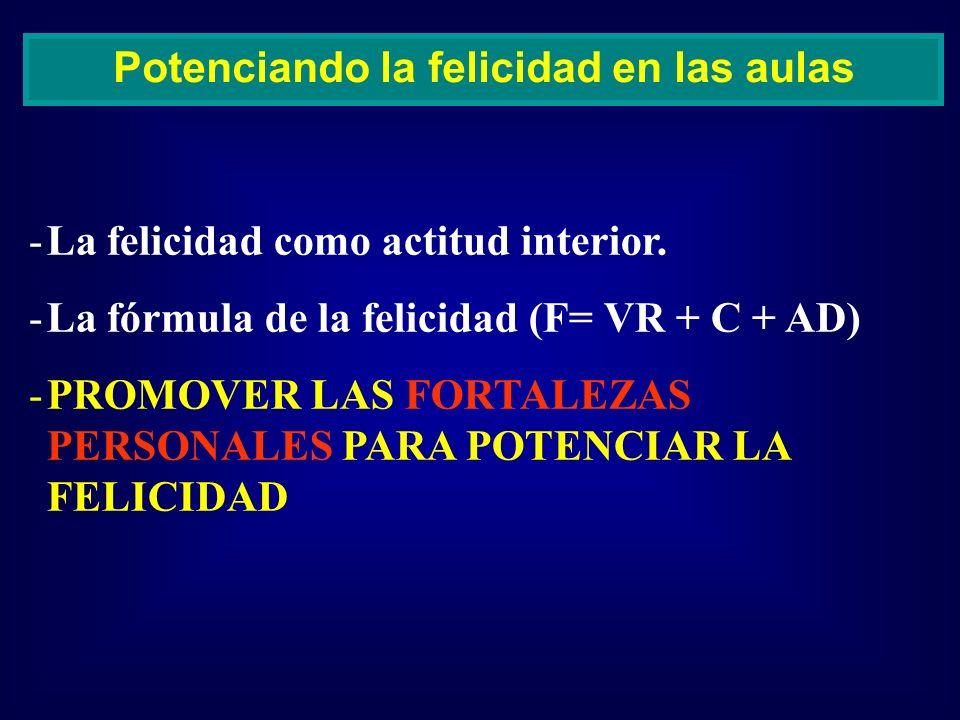 -La felicidad como actitud interior. -La fórmula de la felicidad (F= VR + C + AD) -PROMOVER LAS FORTALEZAS PERSONALES PARA POTENCIAR LA FELICIDAD Pote